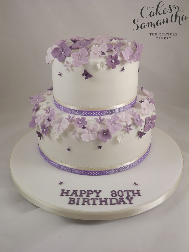 9 2 Tiered Flowered Birthday Cakes Photo Blue And White Two Tier