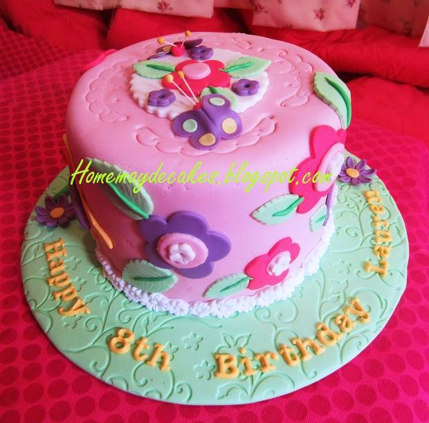 Flowers And Butterfly Birthday Cake
