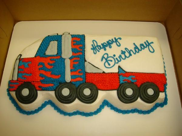 Pleasant 11 Orange Semi Truck Birthday Cakes Photo Semi Truck Cake Semi Funny Birthday Cards Online Alyptdamsfinfo