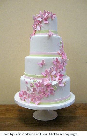Wedding Cake Flowers And Butterflies