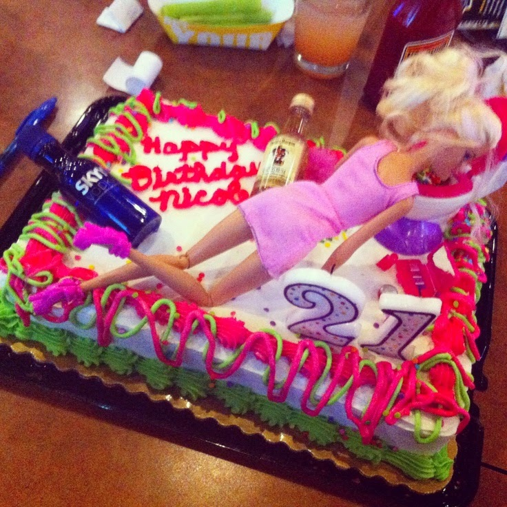 Incredible 12 Best Drunk 21St Birthday Cakes Photo Drunk Barbie 21St Funny Birthday Cards Online Bapapcheapnameinfo