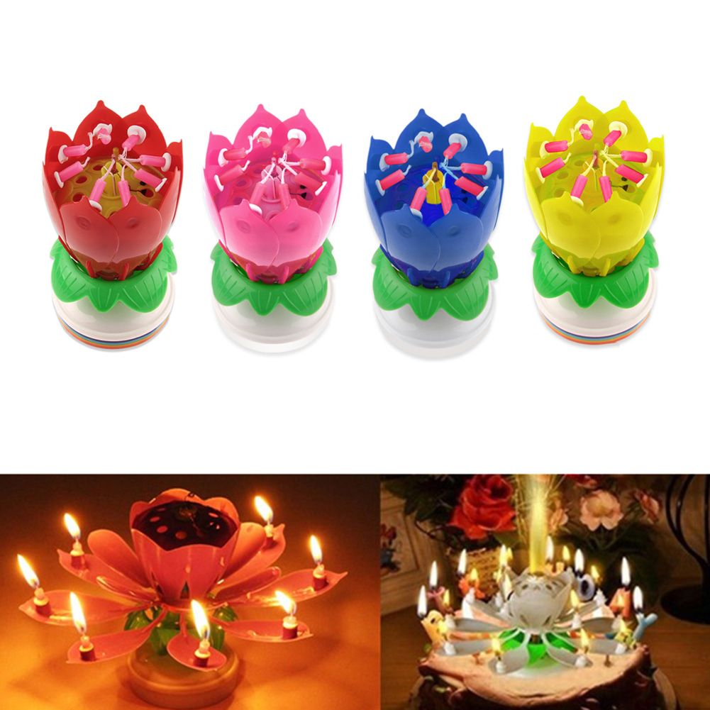 Lotus Flower Candles Birthday Cake