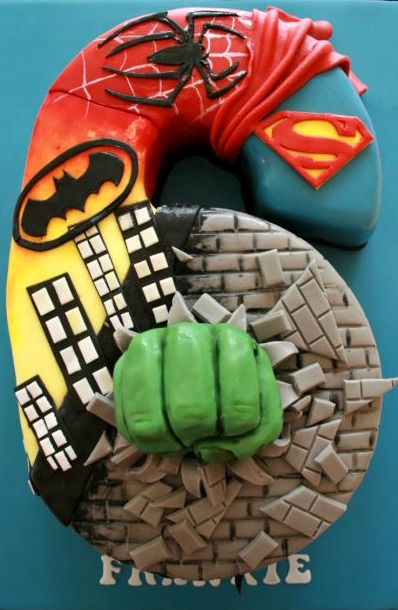 Super Hero Boys Birthday Cake Number 5