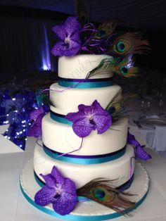 6 Square Wedding Cakes Purple And Turquoise Photo Purple And