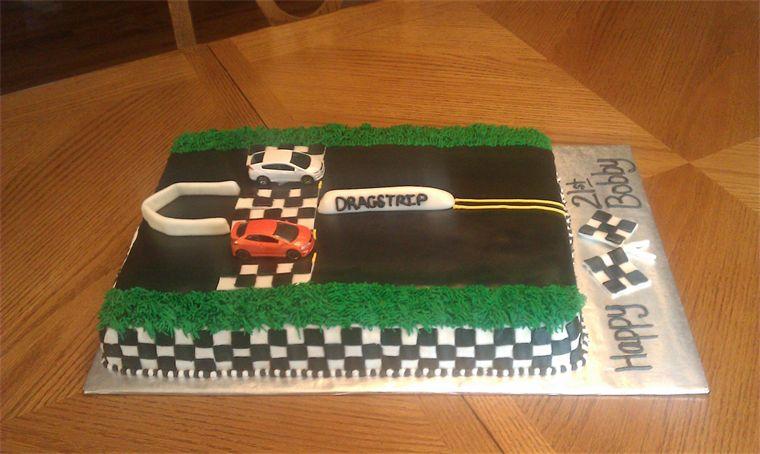 Drag Strip Racing Cake