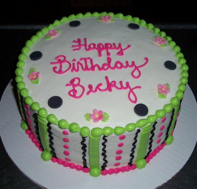 Hot Pink Lime Green And Black Birthday Cakes