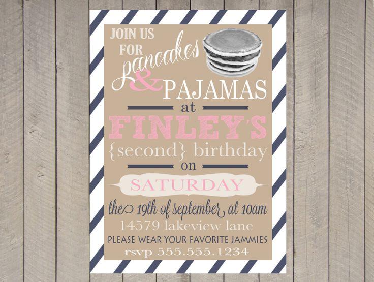 12 pancakes and pajamas party invitations 1st birthday photo pancakes and pajamas party invitations via pancake filmwisefo