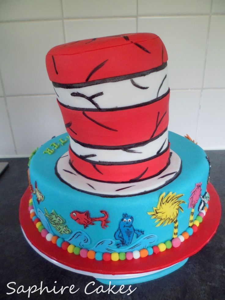 12 Dr Suess Fish Birthday Cakes Photo Dr Seuss Birthday Cake Dr