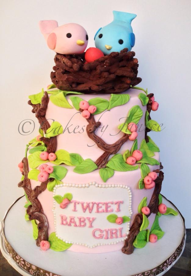 Girl Baby Shower Bird Cake