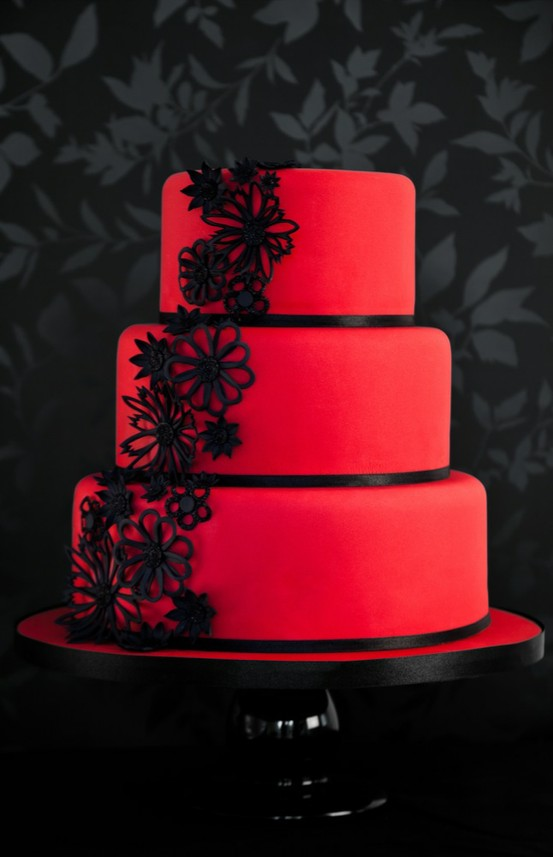 7 Black And Red Wedding Cakes Ideas Photo Red White And Black