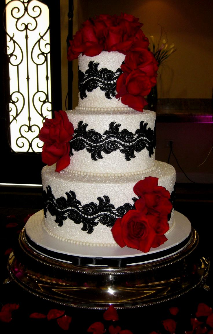 7 Black And Red Wedding Cakes Ideas Photo - Red White and Black ...