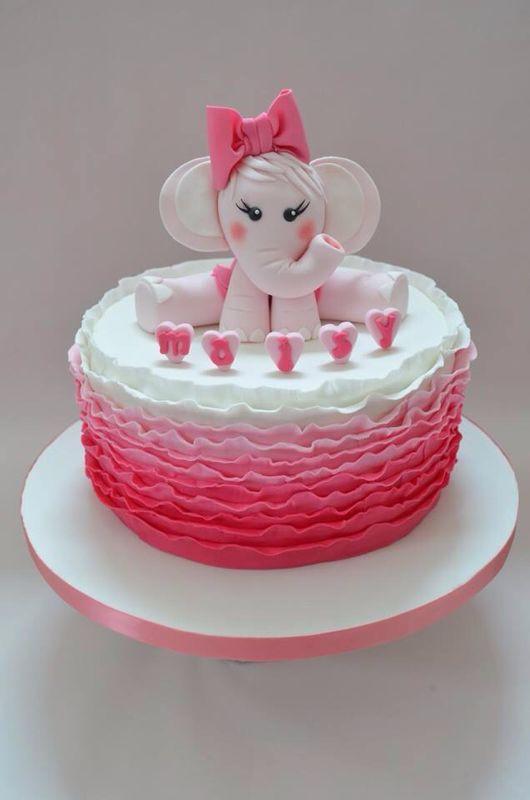 11 Girls Elephant Cakes Photo Elephant Birthday Cake Topper