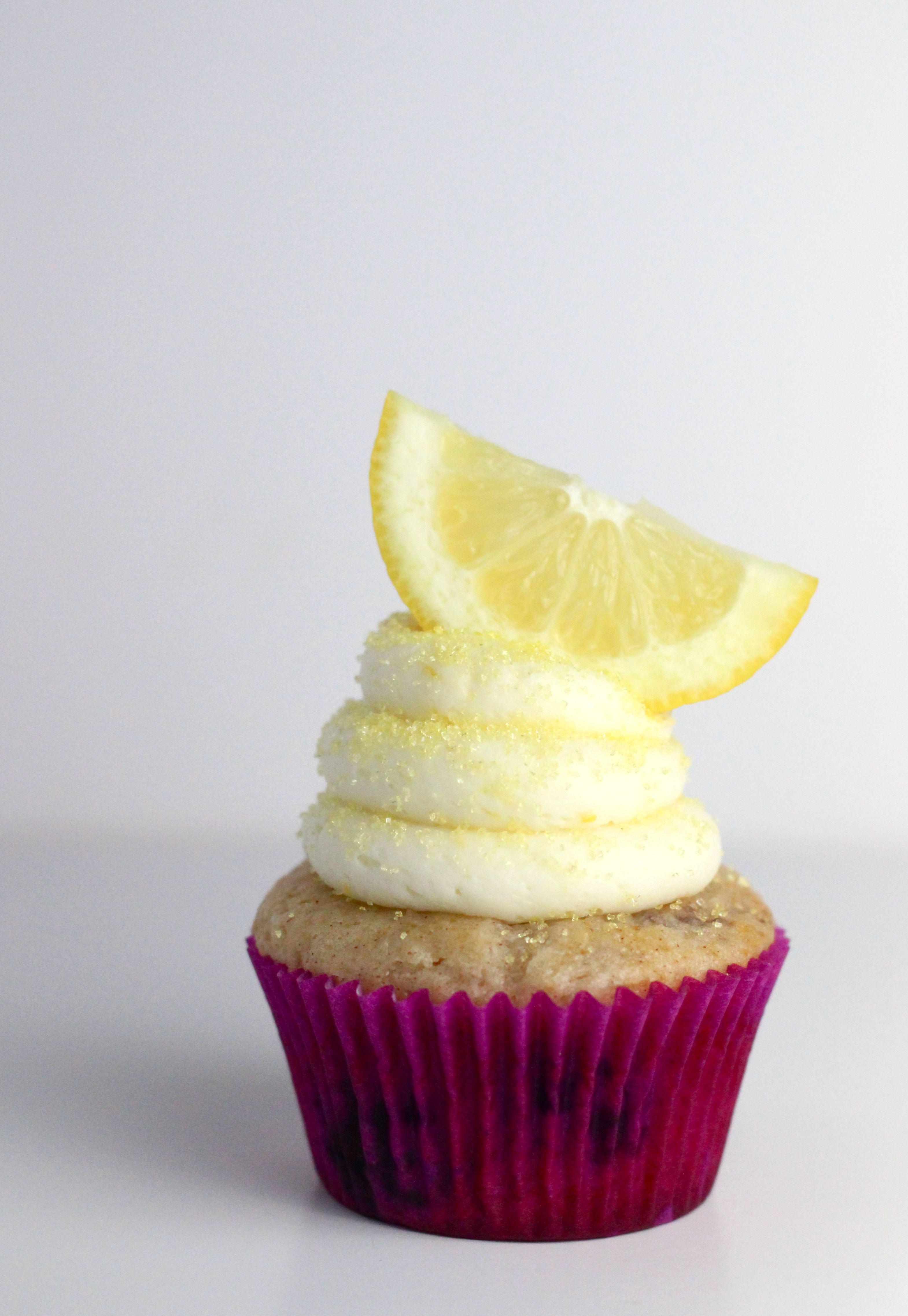 Blueberry Lemon Cake Mix Cupcakes