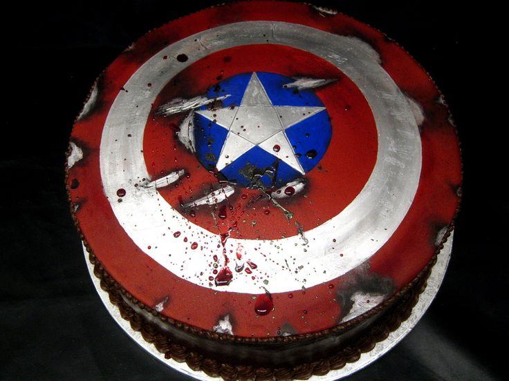 7 Captian America Grooms Cakes Photo Captain America Shield Cake