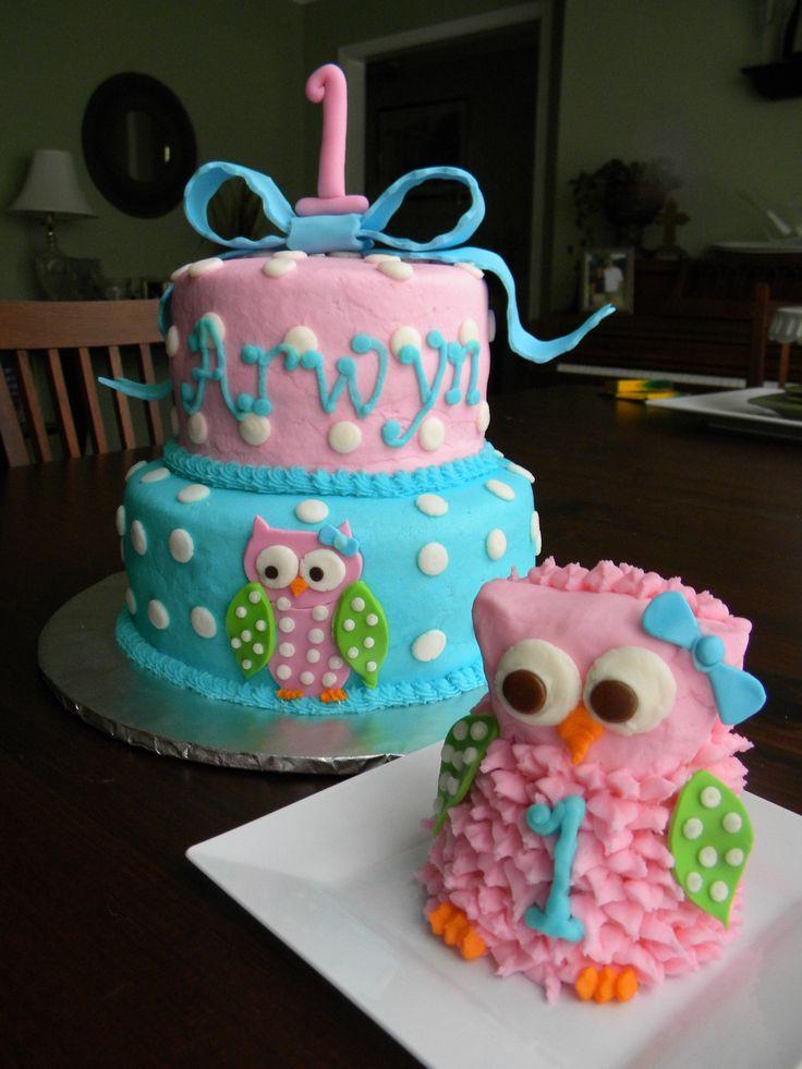Phenomenal 7 Owl 1St Birthday Smash Cake And Cupcakes Photo Owl Themed 1St Funny Birthday Cards Online Aeocydamsfinfo