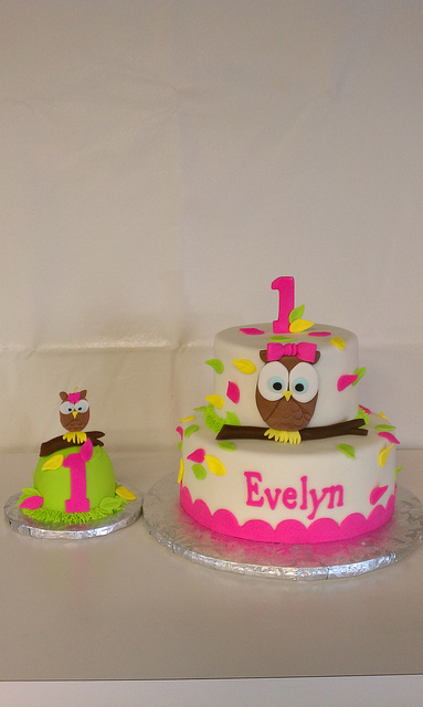 Groovy 7 Owl 1St Birthday Smash Cake And Cupcakes Photo Owl Themed 1St Personalised Birthday Cards Akebfashionlily Jamesorg