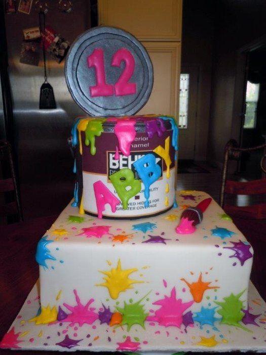 11 Paint On Cakes Decorating Ideas Photo Paint Splatter Cake