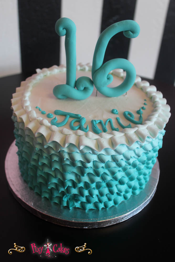 Aqua Blue Birthday Cake For Girls