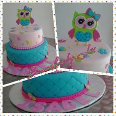 Baby Girl Owl 1st Birthday Cake