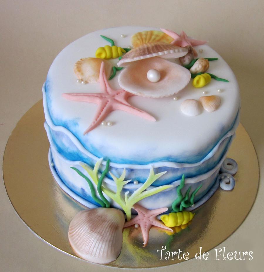 10 Seashell Birthday Cakes Photo Seashell Birthday Cake Seashell
