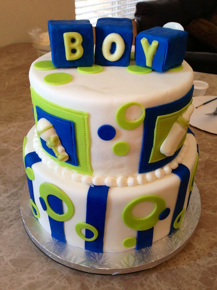 11 Green And Blue For Boy Baby Shower Cakes Photo Green And Brown