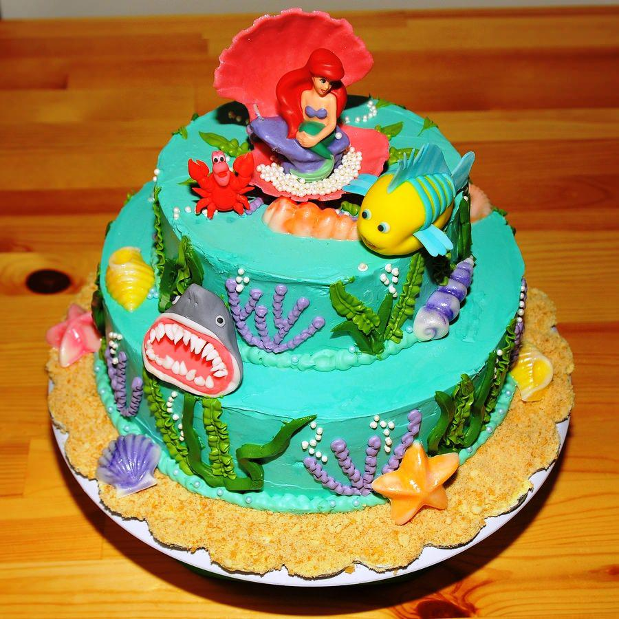 9 Little Mermaid Round Cakes Photo Little Mermaid Cake Ariel
