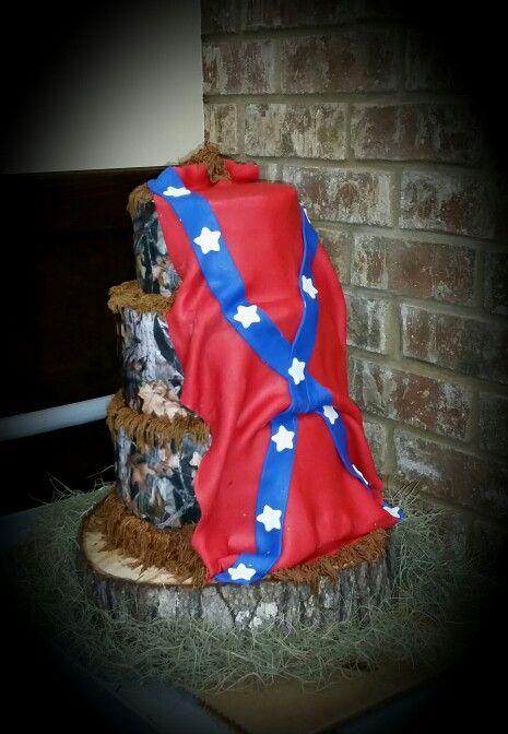 Rebel Flag And Camo Wedding Cake