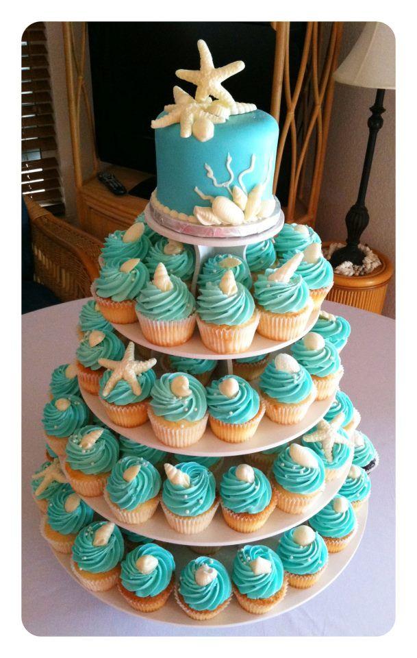 9 Pink Beach Theme Cupcakes Photo Beach Theme Wedding Cupcakes