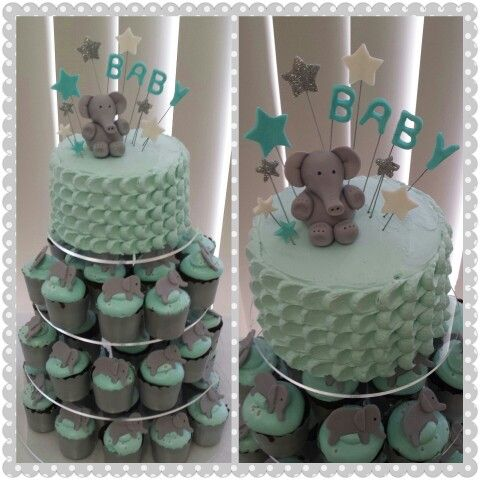 13 Elephant Baby Shower Cakes And Cupcakes Photo Elephant Baby