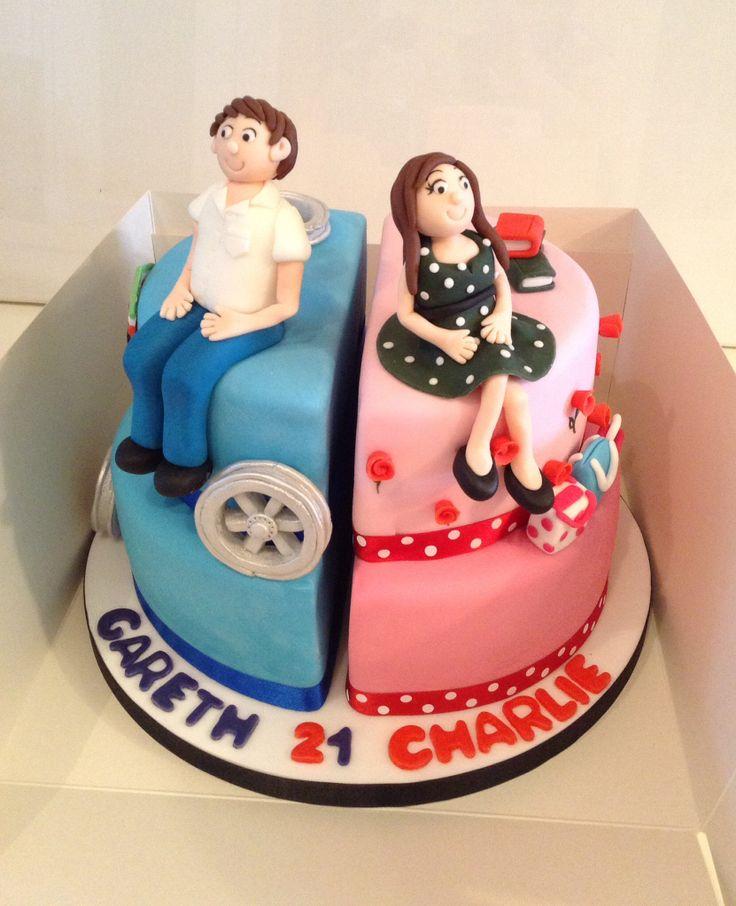Fine 8 Split Boy And Girl Birthday Cakes Photo Girls 21St Birthday Personalised Birthday Cards Paralily Jamesorg