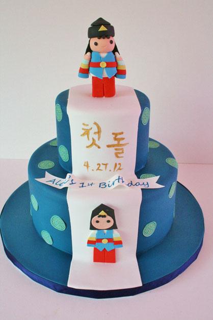 Remarkable 9 Custom 1St Birthday Cakes Photo Korean First Birthday Cake Funny Birthday Cards Online Elaedamsfinfo