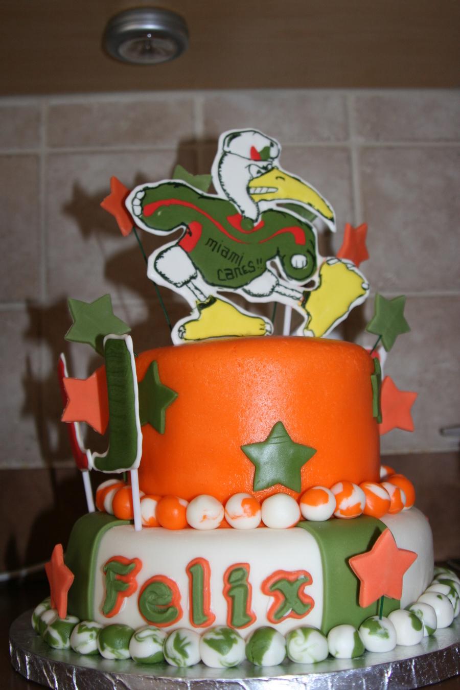 10 Miami Hurricanes Cakes Decorated Photo Miami Hurricane Birthday