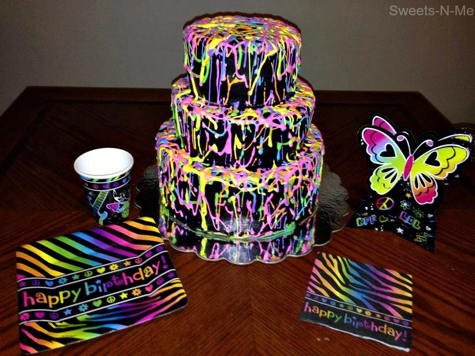 11 Neon Rainbow Zebra Birthday Cakes Photo Neon Birthday Cake