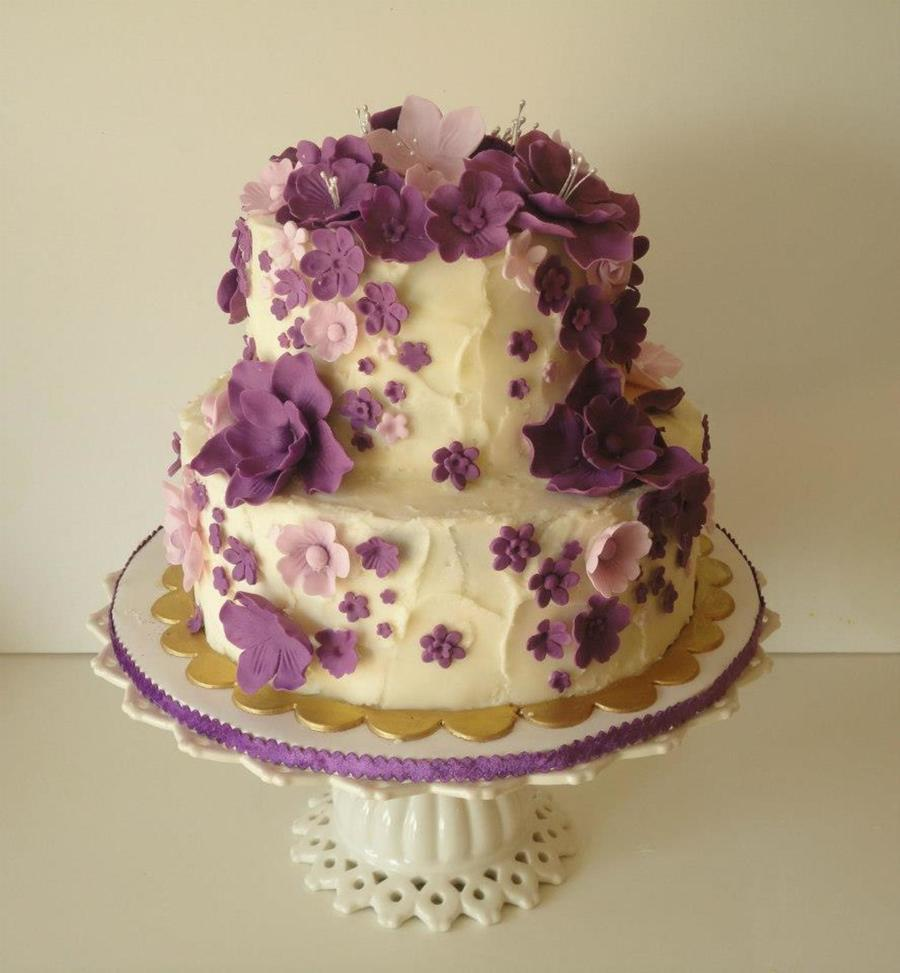 Purple Flower Birthday Cake