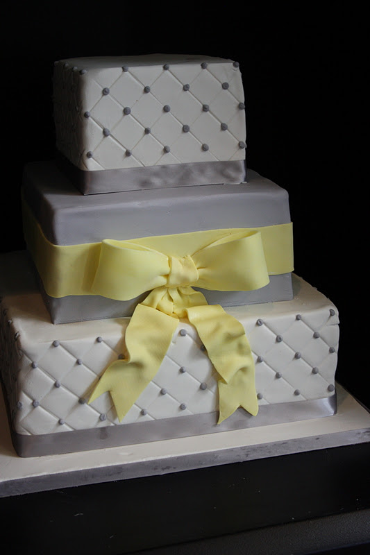Gray and Yellow Wedding Cakes