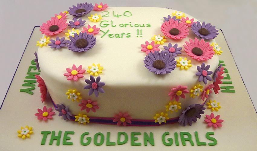 8 Fondant Anniversary Cakes With Real Flowers Photo Birthday Cake