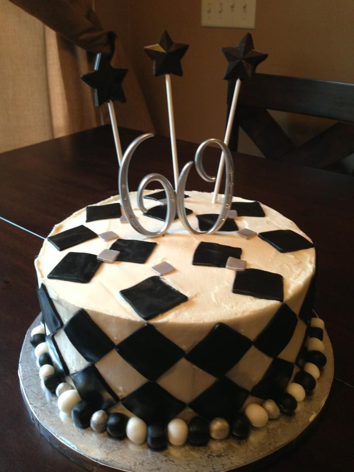 9 Black And White Buttercream Cakes Photo Black And White 60th