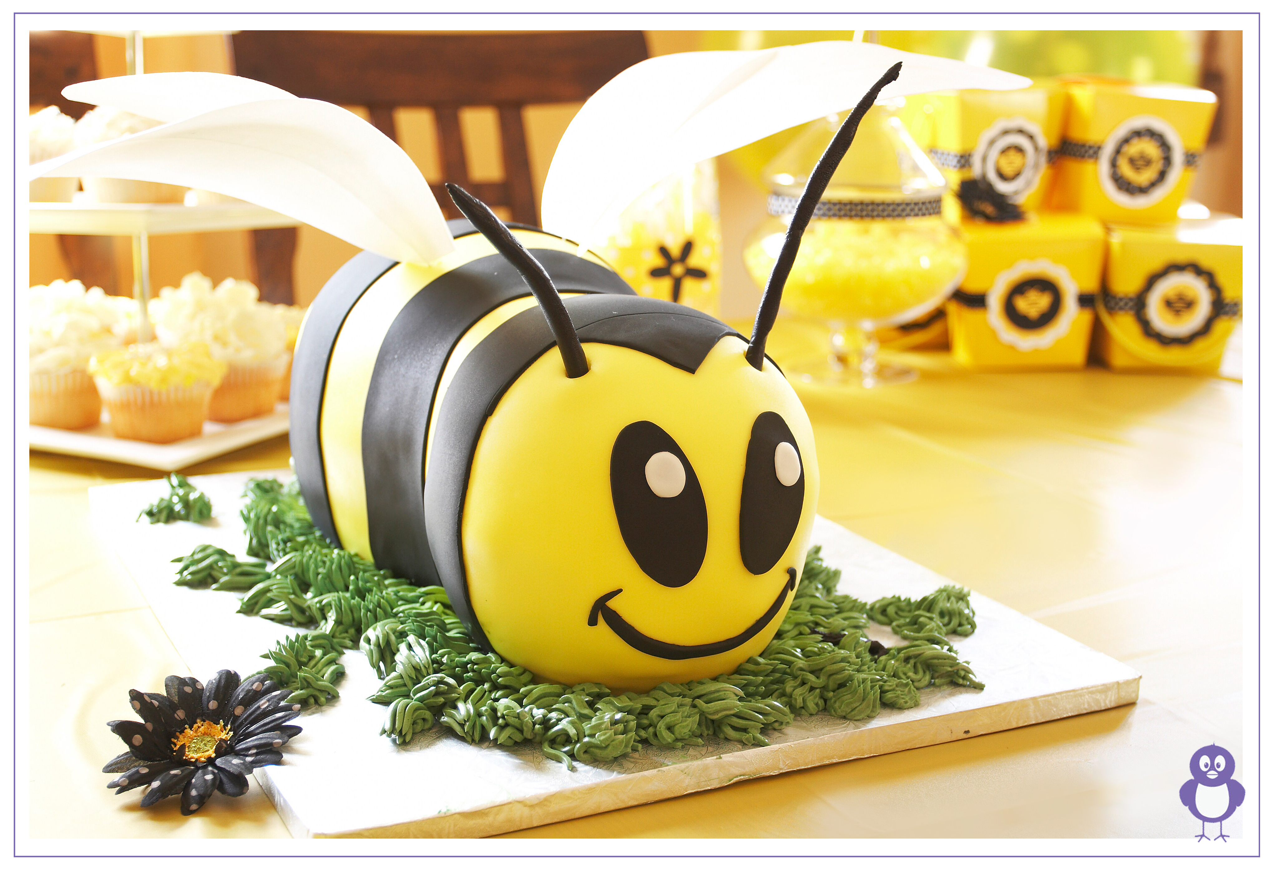 6 Bumble Bee First Birthday Cake With Cupcakes Photo Bumble Bee