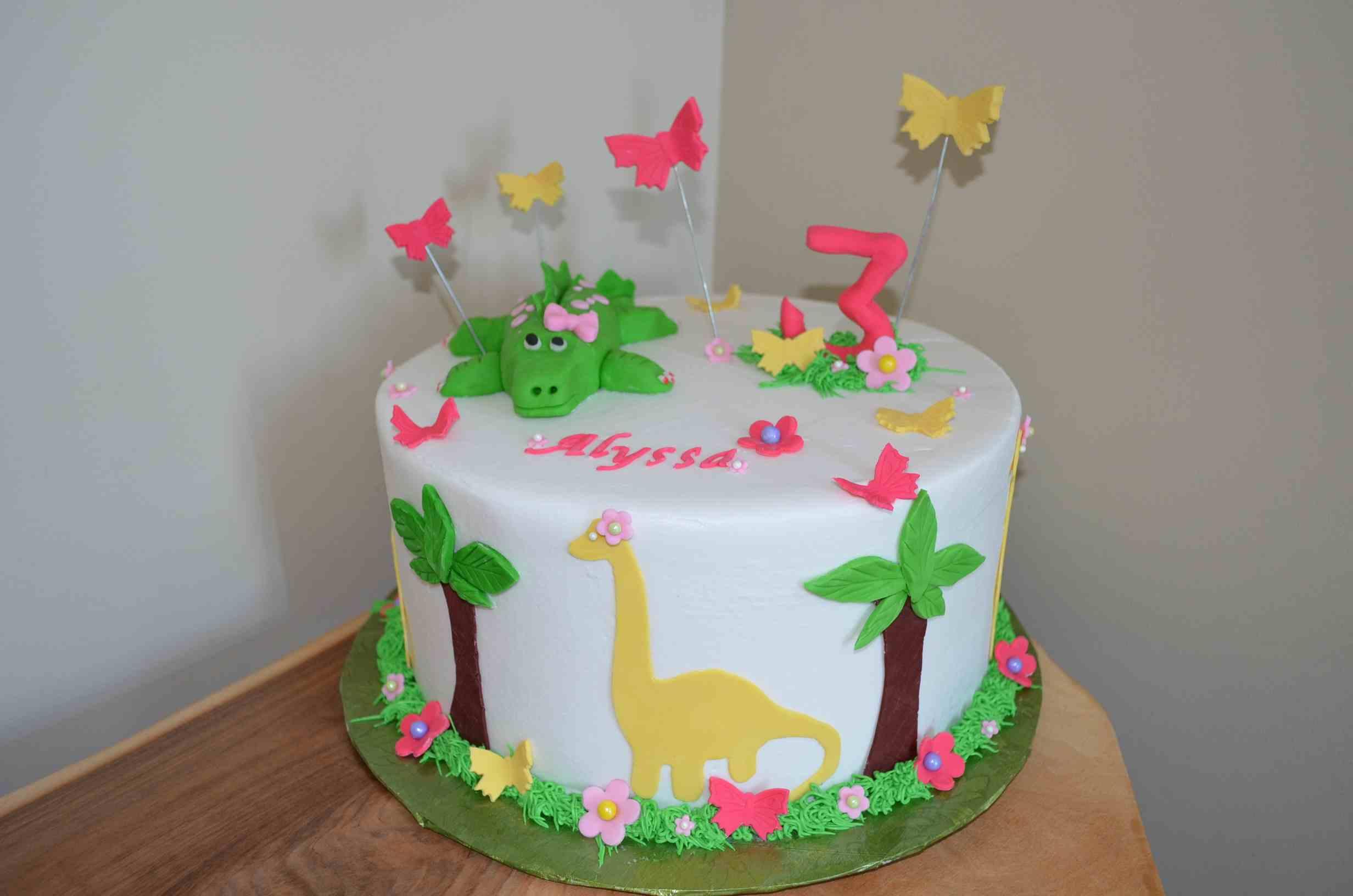 Girl Dinosaur Birthday Cake