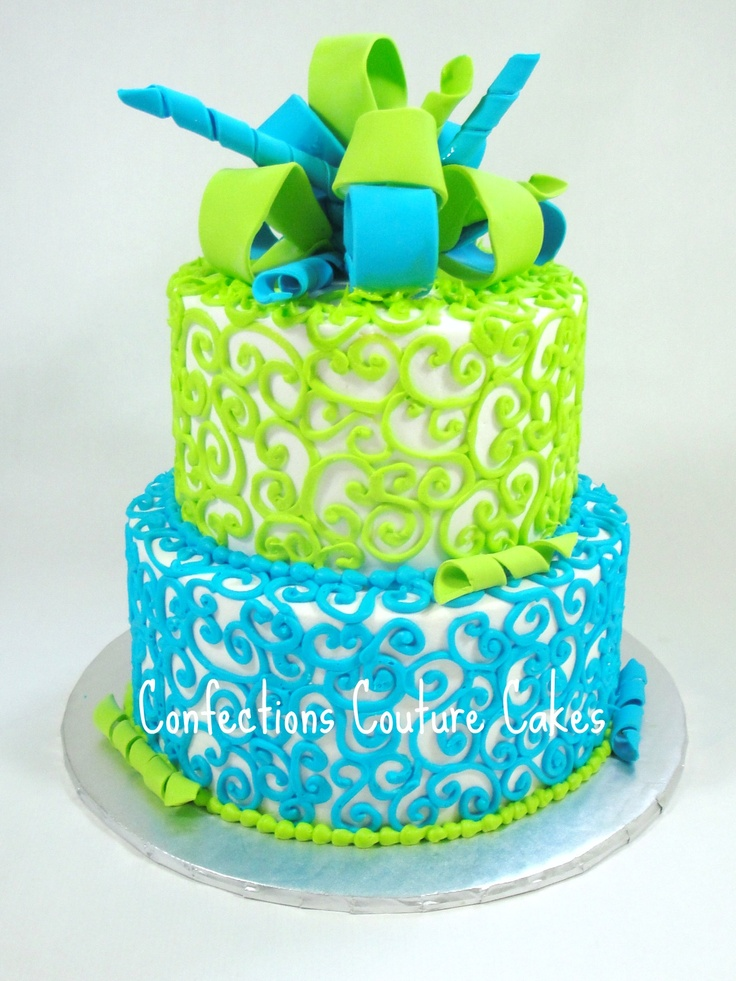 8 Blue And Lime Green Birthday Cakes Photo Blue And Green Topsy