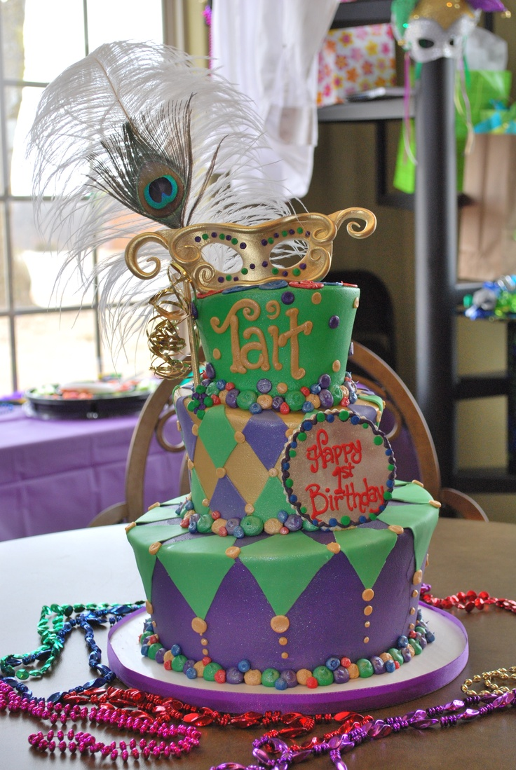 Wondrous 12 Mardi Gras Themed Birthday Cakes Photo Mardi Gras Theme Funny Birthday Cards Online Alyptdamsfinfo