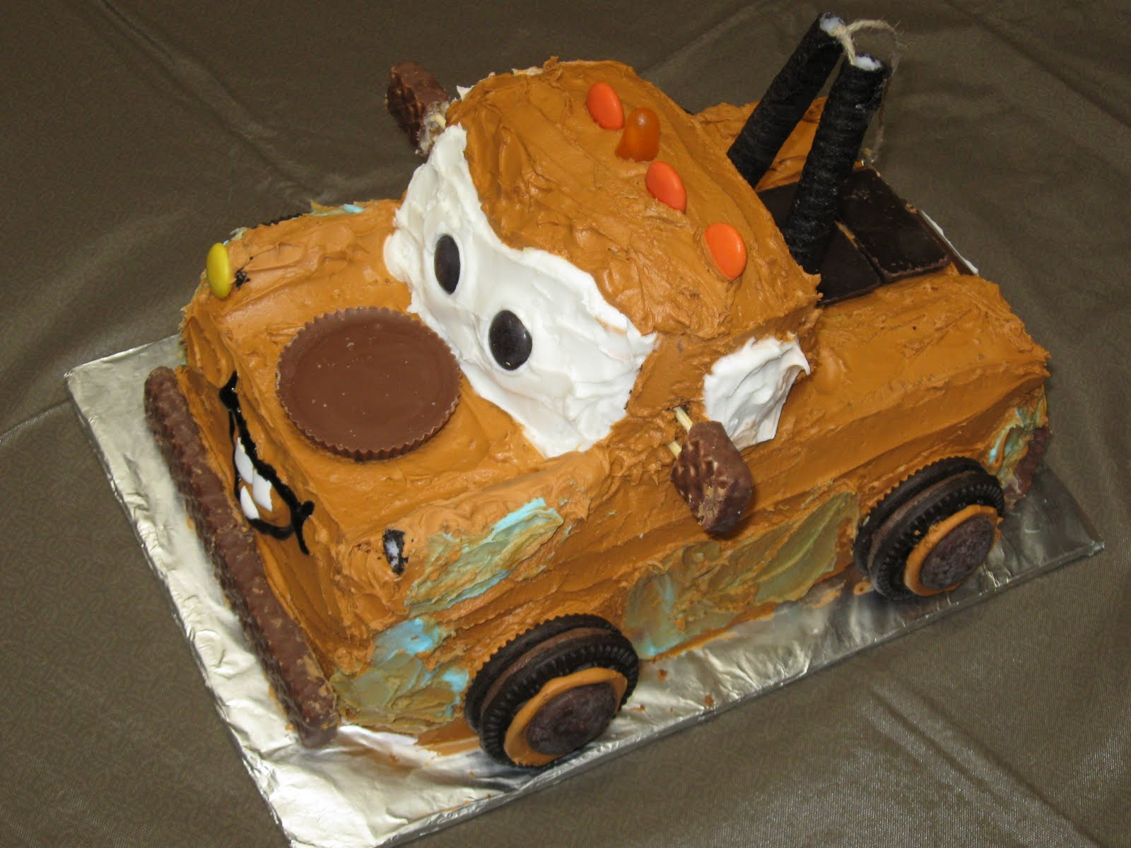Remarkable 7 Mater Truck Cakes Photo Tow Mater Birthday Cake Mater Funny Birthday Cards Online Alyptdamsfinfo