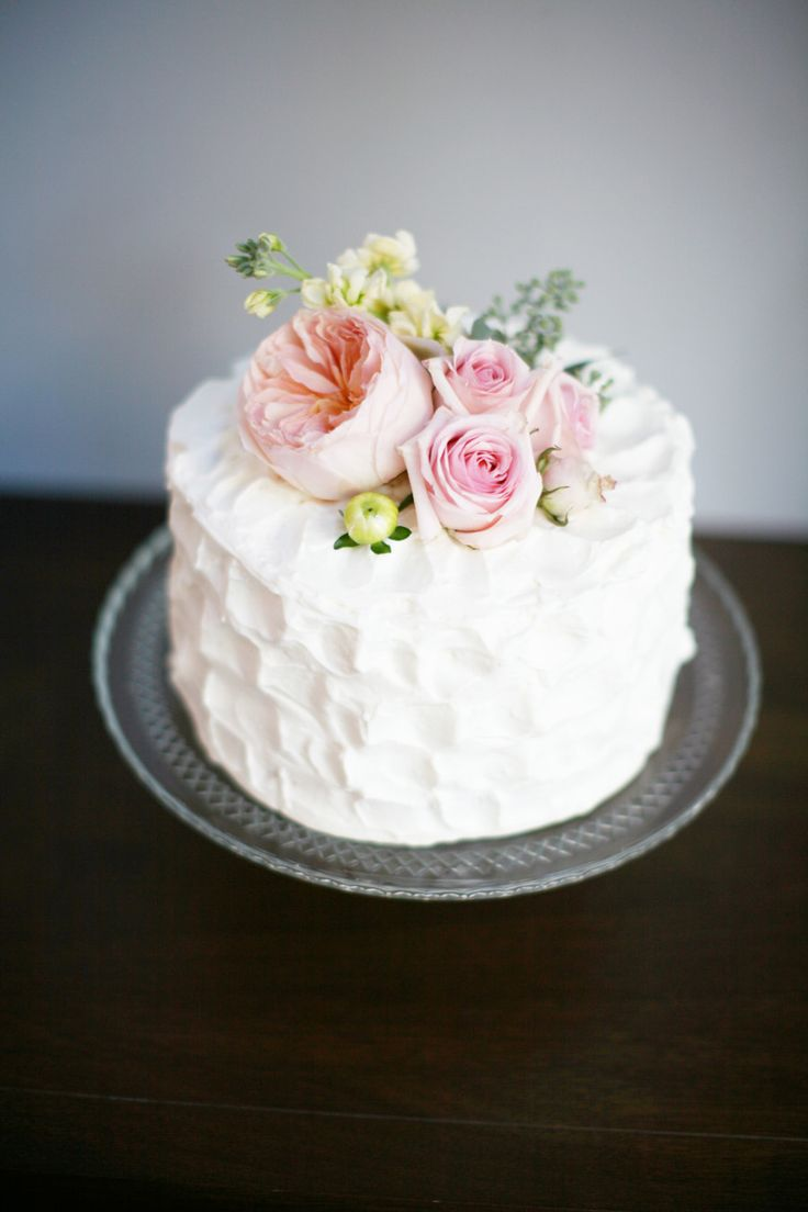 7 Simple One Tier Buttercream Wedding Cakes Photo Small Simple