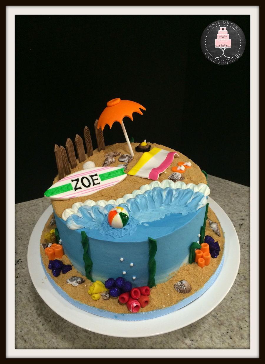 11 Beach Themed Cakes In Number Photo Beach Theme Birthday Cakes