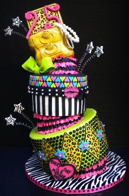 Excellent 12 Crazy Neon Birthday Cakes Photo Betsey Johnson Cake Neon Funny Birthday Cards Online Alyptdamsfinfo