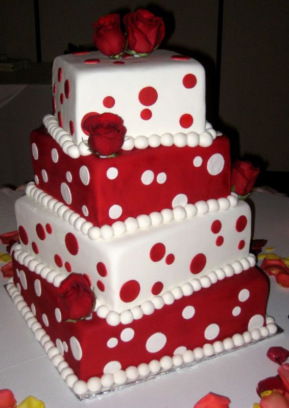 9 Wedding Cakes Red And White Crosses Photo Red And White Wedding