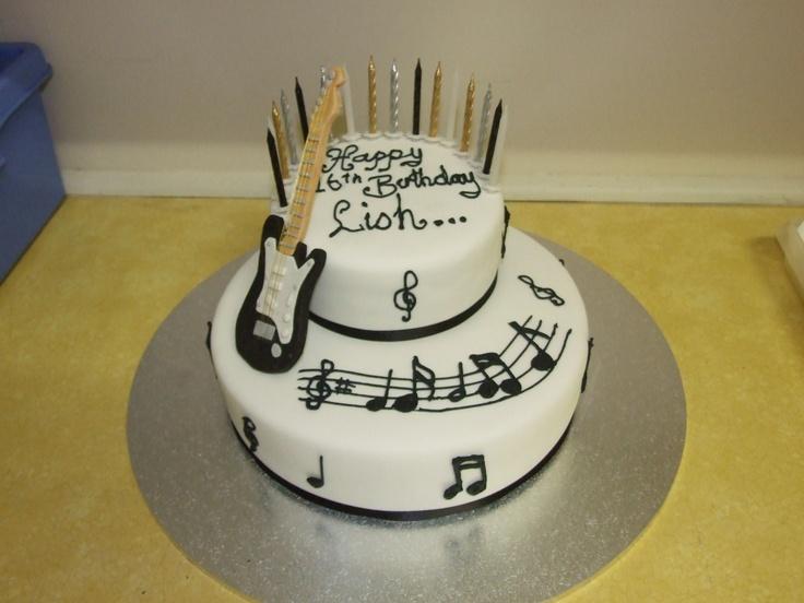 12 Rock And Roll Guitar Birthday Cakes Photo Rockn Roll Birthday