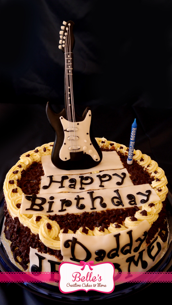 12 Rock And Roll Guitar Birthday Cakes Photo Rock N Roll Birthday