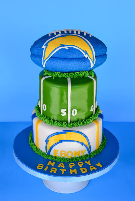 Pleasing 13 Chargers Themed Cakes Photo San Diego Chargers Football Cake Funny Birthday Cards Online Elaedamsfinfo