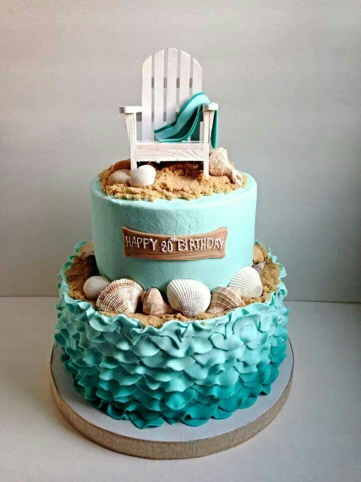 Amazing 11 Simple Birthday Cakes Beach Photo Beach Theme Birthday Cake Funny Birthday Cards Online Overcheapnameinfo